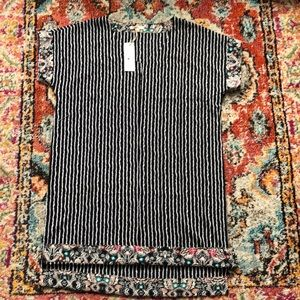 2 for $20 b and w striped dress w/  floral sleeves